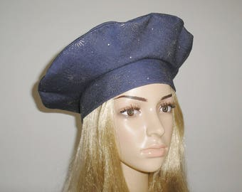 Summer Hat beret Beanie Hat covers head is hand sewn fabric blue silver patterns, gift idea for woman anniversary Christmas.