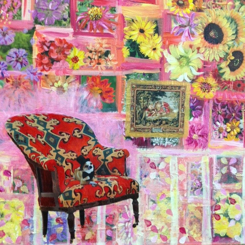 Mixed Media Collage Art The Parlour Chair image 0