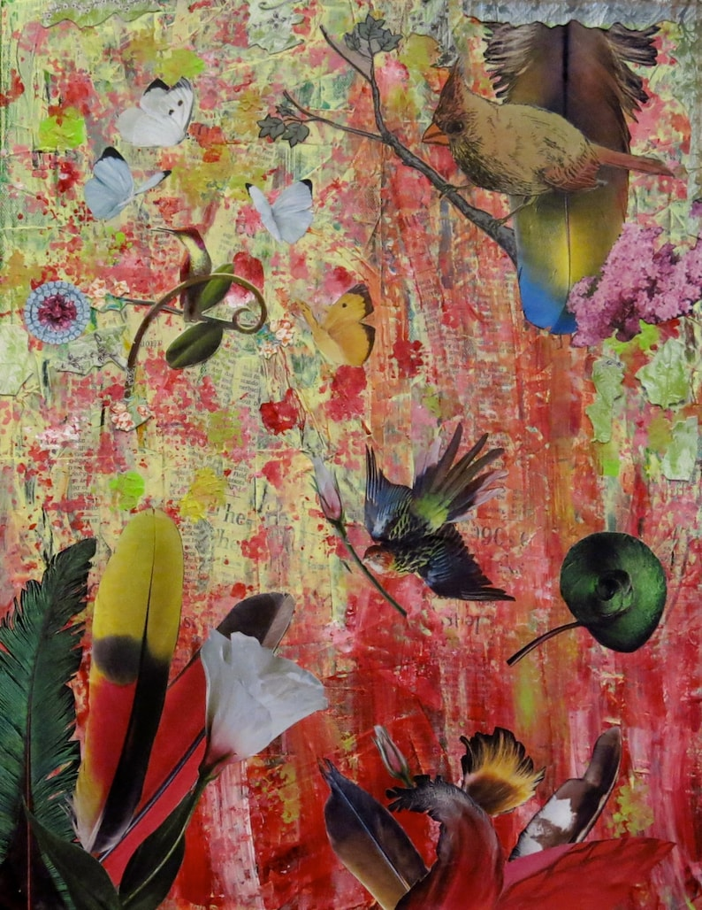 Mixed Media Collage Art Feathers image 0