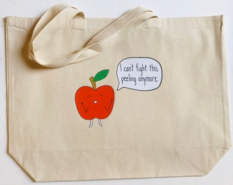 """I Can't Fight This Peeling Anymore + heavy duty reusable canvas grocery shopping tote book bag funny food pun + 20""""x15"""" with 5"""" gusset"""