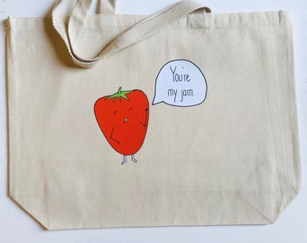 """You're My Jam + heavy duty reusable canvas grocery strawberry shopping tote bag + 20""""x15"""" with 5"""" gusset"""