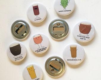 "2.25"" Magnetic Bottle Opener + funny beer pun kitchen barware"