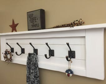 Rustic White Chalked Coat Rack, Rustic Wood Shelf With Hooks, Modern Wooden  Coat Rack, Bathroom Shelf With Hooks, Rustic Entry Shelf