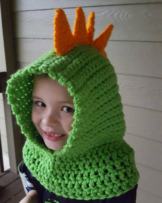 Pattern Pdf Download Crochet Hooded Cowl With Dino Spikes Etsy