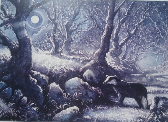 Wildlife art limited edition full Moon Signed print Badger painting Woodland trees. moonlight Welsh art Badger picture A Broc Moon
