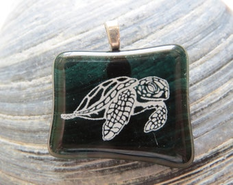 0284 - White Turtle on Green Fused Glass Pendant