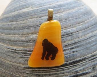 0091 - Orange Fused Glass Pendant with Gorilla