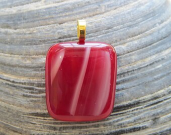 0108 - Red Cherry Candy Fused Glass Pendant