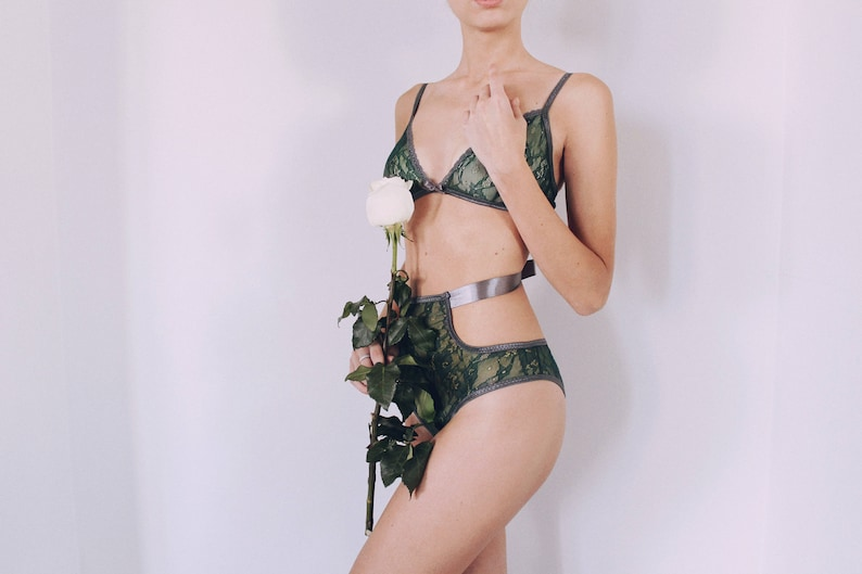 5296ce225b Emerald Green and Grey Lingerie Set Dark Green sheer lace