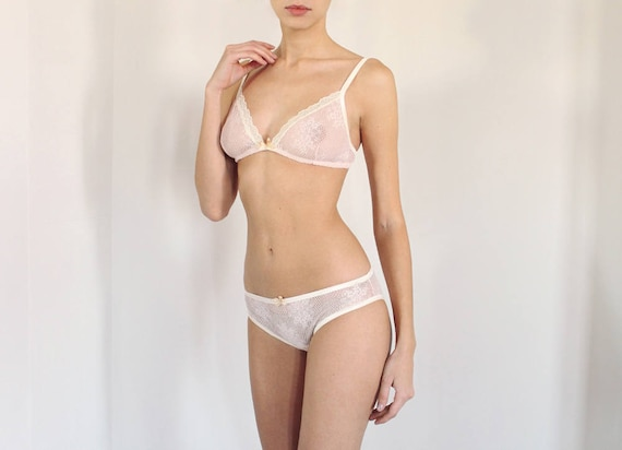 ae19e88802 Blush Pink Lace Bralette and Panties Lingerie Set Sheer bra