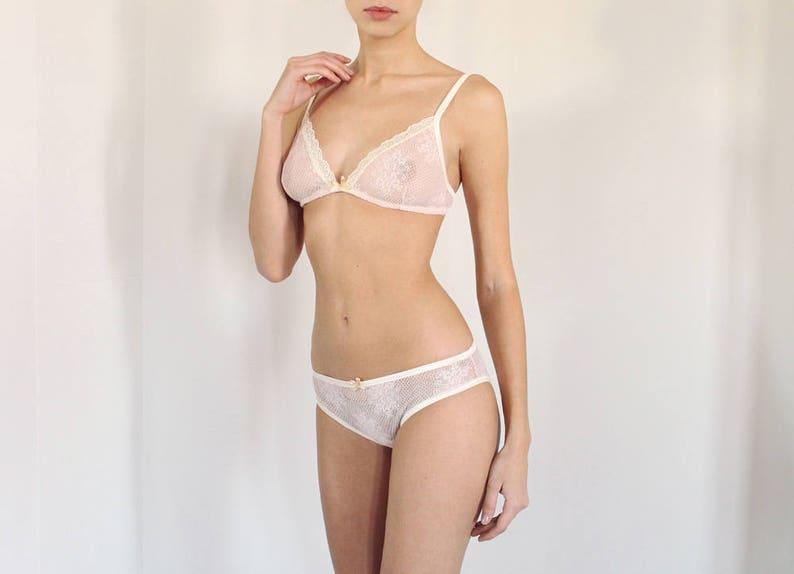 Blush Pink Lace Bralette and Panties Lingerie Set Sheer bra  48ae17c69