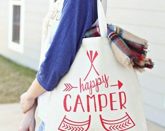 Happy Camper Tote -Red