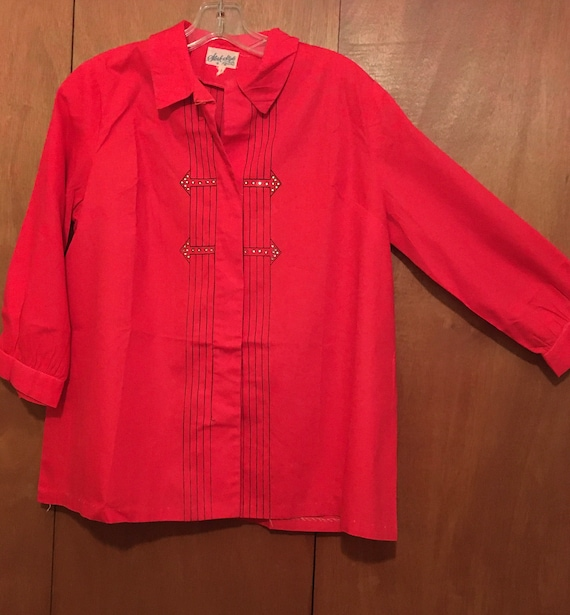 Vintage 50s maternity blouse top red atomix