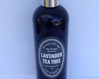 African Black Soap,  Shampoo, Herbal , Body Wash, Organic, All Natural, Lavender & Tea Tree Shampoo, 16 oz