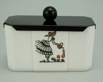 McKee Tipp City Watering Can Lady Covered Drippings Grease Jar or Sugar Jar. Extremely Rare.