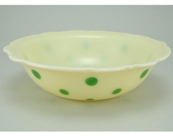 """McKee Custard With Green Dots 8-1/2"""" Dia. Scalloped Edge Bowl. Extremely Rare."""
