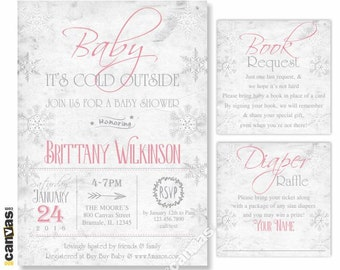Baby Its Cold Outside Baby Shower Invitation, Winter Baby Shower Invitations, Snowflake Invites, Coed Baby Shower Girl, Rustic Gray Pink 39