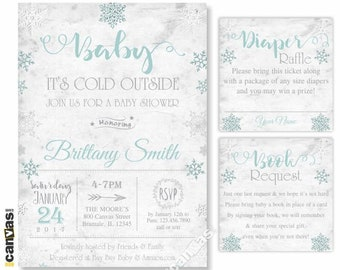 Polar Bear Baby Shower Invitation Books For Baby Insert Card Winter Snowflake Diaper Raffle Christmas Baby Package WINT6 3-PIECE-SUITE