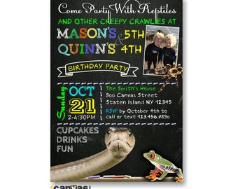 Animal birthday party reptiles amphibians animal birthday etsy reptile birthday invitation zoo joint twin dual double animals frog snake chalkboard party diy printable or printed with free shipping 266 filmwisefo