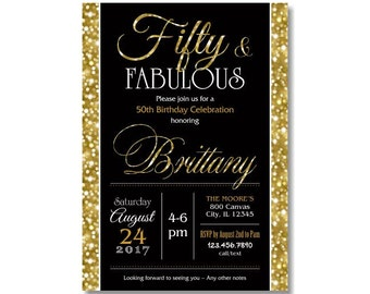 50 and fabulous invitations etsy 50th birthday invitations fifty and fabulous golden 50 gold glitter glam invite milestone women surprise party any age digital printed 65 filmwisefo