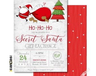 Secret santa etsy secret santa invitation gift exchange party christmas invitations christmas party holiday party santa claus printable or printed 78 m4hsunfo