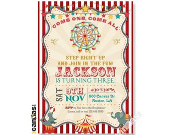 Carnival Invitation Vintage 1st Birthday Circus Merry Go Round Ferris Wheel Digital Or Printed With FREE SHIPPING 434