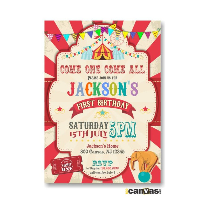 Circus Birthday Invitation Boy Carnival Party