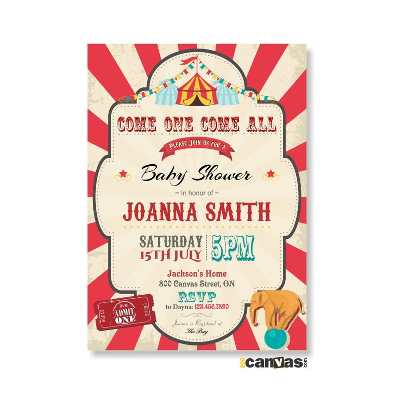 Circus Baby Shower Invitation Circus Theme Party Babyshower Invite Carnival Elephant Vintage Printable Or Printed With Free Shipping 49