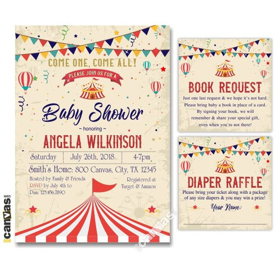 Circus Baby Shower Invitations Vintage Circus Baby Shower Invite Carnival Themed Party Gender Neutral Red Tent Printable Or Printed 197