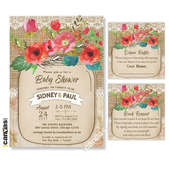Floral Fall Mason Jar Baby Shower Invitation Rustic Babyq Etsy