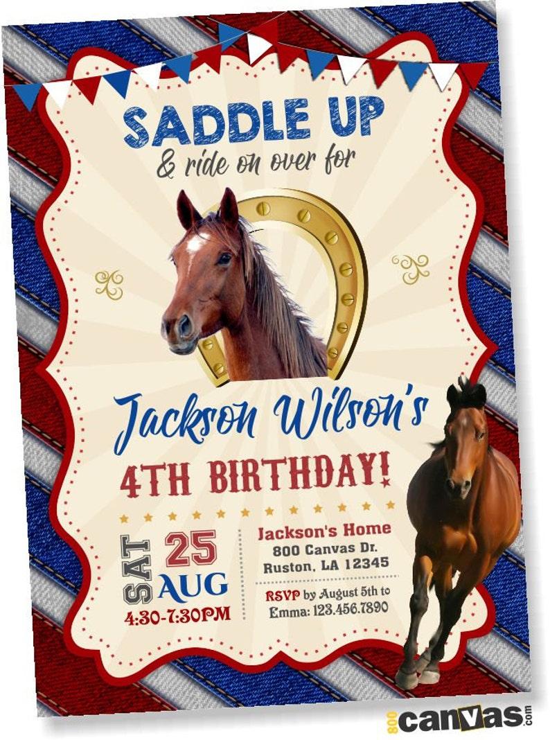 Horse Invitation Birthday Invitations Western Cowboy Riding Horseshoe Saddle Up Printable Or Printed FREE SHIPPING 221
