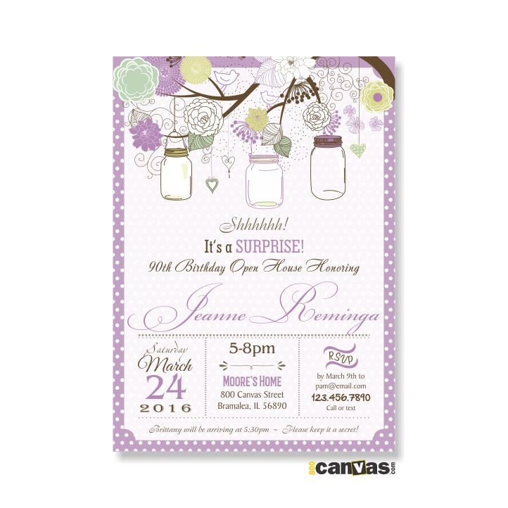 Surprise Women Birthday Invitation Mason Jar Adult Party