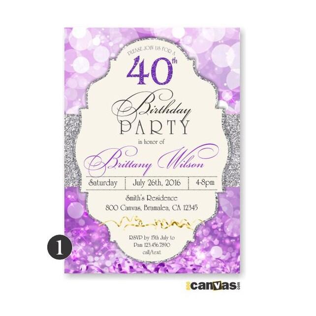 Purple birthday invitation glitter surprise party adult etsy image 0 filmwisefo