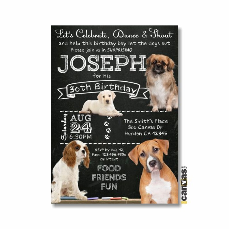 Dog Birthday Invitation Dogie Puppy Party Men Boy 1st 2nd 3rd 4th Invite Animal Pet Chalkboard Printable Or Printed With FREE SHIPPING 415