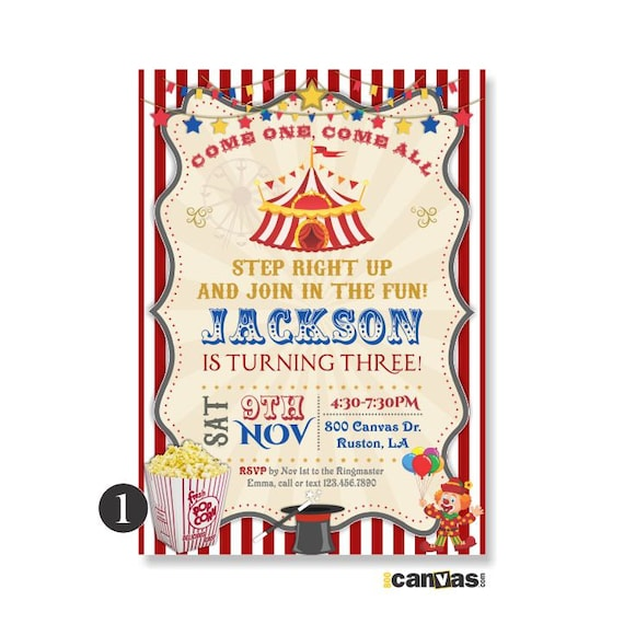 circus theme birthday invitations 1st 2nd 3rd 4th 5th vintage etsy