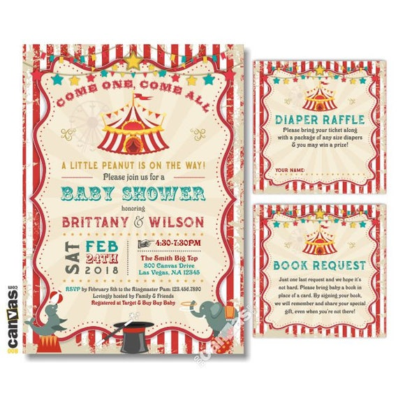 Circus Baby Shower Invitation Carnival Party Invite Gender Etsy