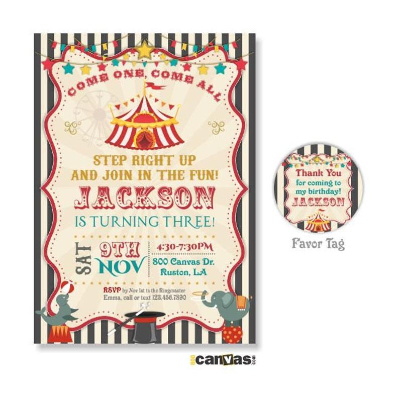 Circus Birthday Invitation Invitations Vintage