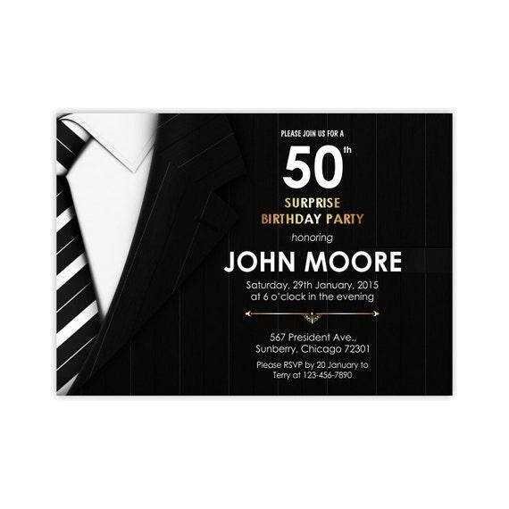 50th Birthday Invitations Men Invite Suite And Tie
