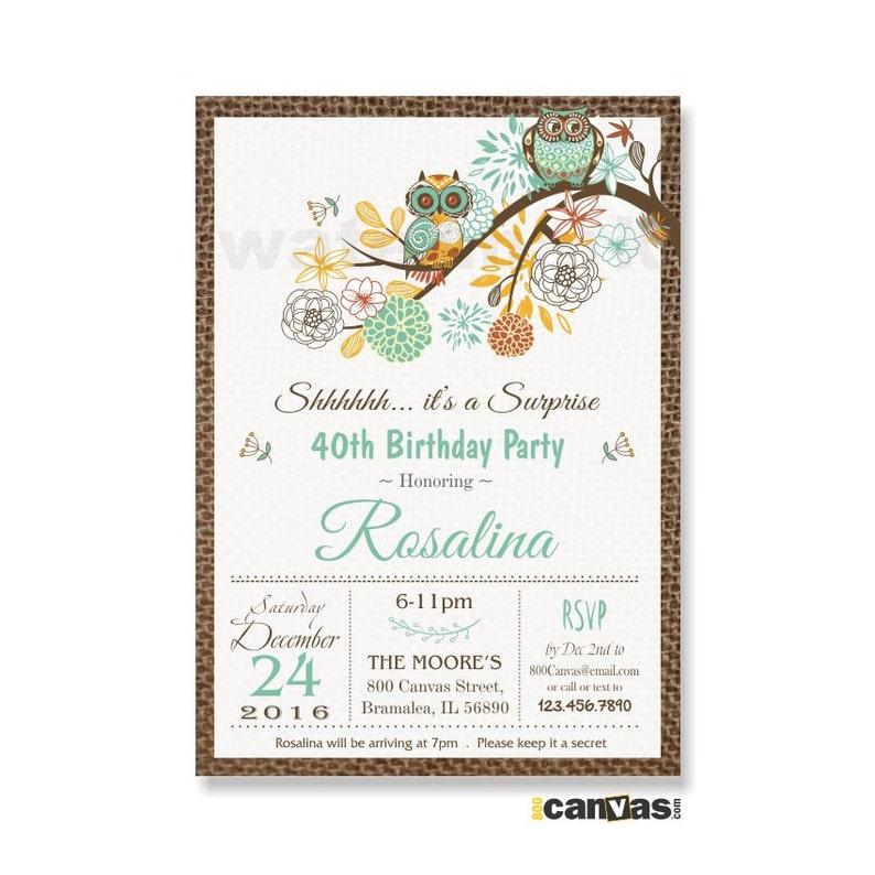 Surprise Birthday Invitation Owl