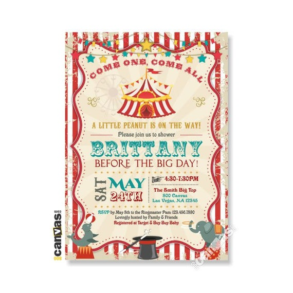 Circus Themed Party Circus Baby Shower Invitation Girl Boy Carnival Red Circus Tent Teal Diy Printable Or Printed With Free Shipping 141