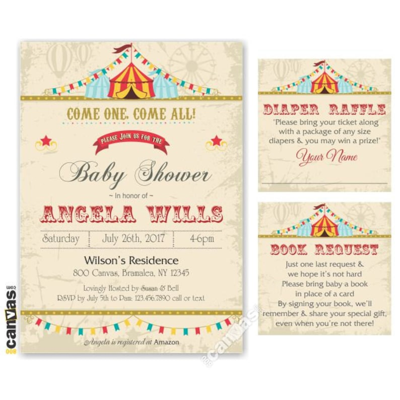 Circus Baby Shower Invitation Carnival Party Invites Shabby Chic Babyshower Circus Themed Party Gender Neutral Printable Or Printed Bs87