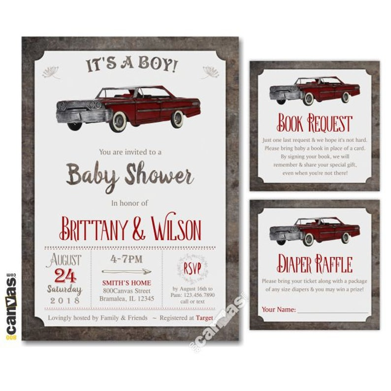 Vintage Car Baby Shower Invitation It S A Boy Retro Red Car Coed Co Ed Couples 800 Canvas Diy Printable Or Printed With Free Shipping 234