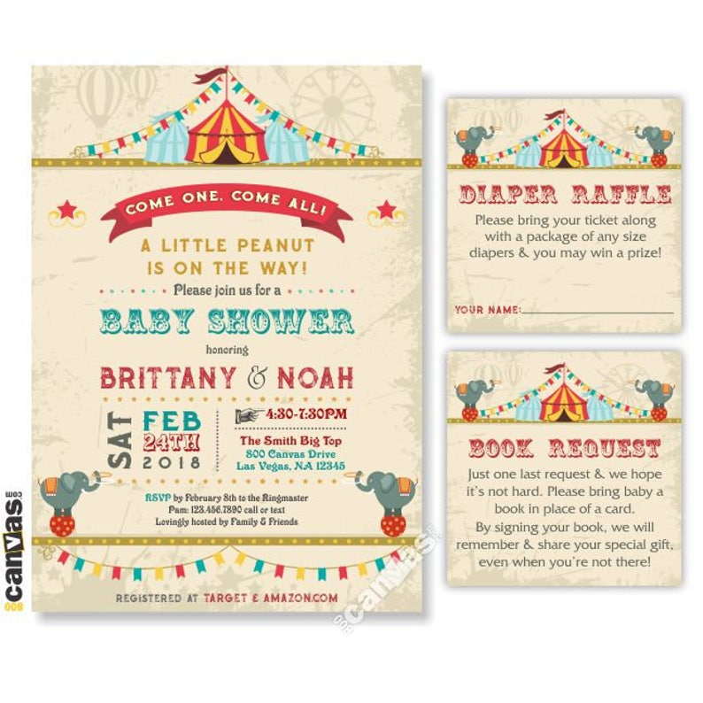 Circus Themed Party Baby Shower Invitation Vintage Rustic Circus Invites Carnival Digital Or Printed Free Shipping 349