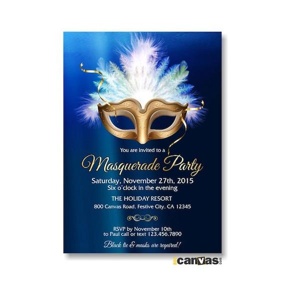 Masquerade Theme Invitation Mardi Gras Mask 21st 30th 40th