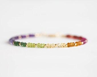 Orange Sapphire Bracelet ~ Citrine /& Sapphire Jewelry ~ Orange Zircon ~ Yellow Orange Gemstone ~ Karen Hill Silver