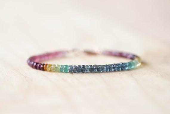 Bracelet multi color tourmaline avec Kyanite et Ap...