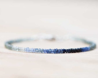 Delicate Moss Aquamarine & Sapphire Bracelet, Multi Gemstone Stacking Bracelet, Moss Aquamarine Bracelet, Rose Gold Fill Sterling Silver