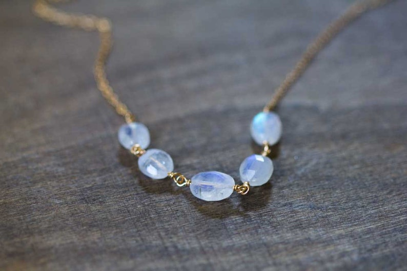 c2c2fa60e334b3 Rainbow Moonstone Necklace 14k Rose Gold Filled or Sterling | Etsy