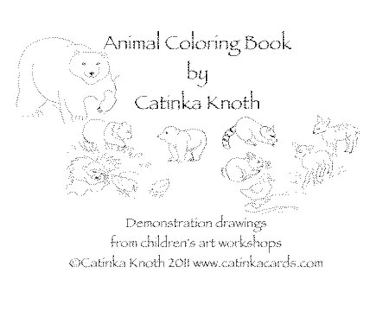 Animal Coloring Book pages cards pdf polar bears penguins image 0