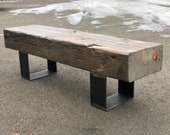Reclaimed Grey Washed Beam Bench, READY TO SHIP! Timber Bench, Rustic Bench, Refined Industrial, Industrial Chic, Montana Barn Wood Bench